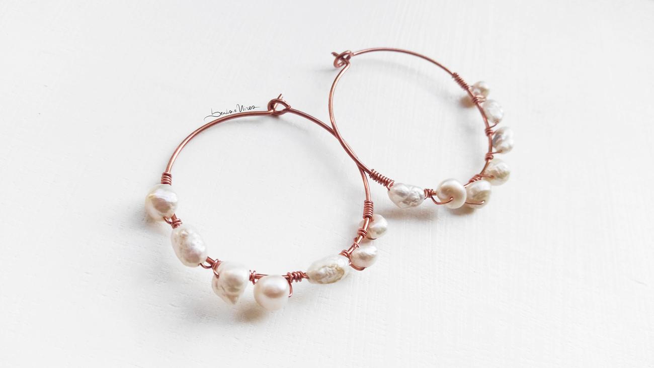 beads and wires hoop earrings