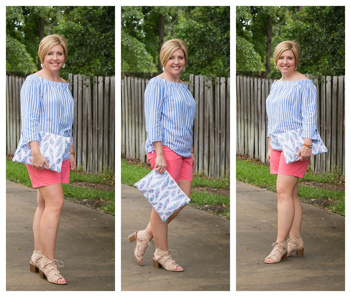summer outfit with feather clutch