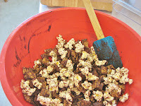 chocolate coated Chex cereal & popcorn