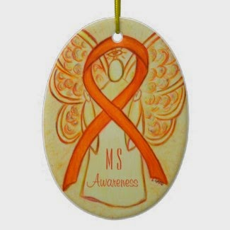 Multiple Sclerosis Awareness Ribbon Guardian Angel Custom Pendant Holiday Christmas Ornaments Charms