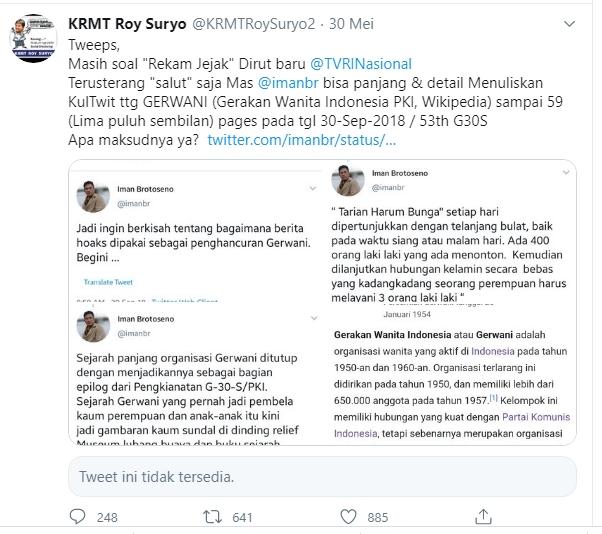 Roy Suryo Unggah Jejak Digital Dirut TVRI soal Gerwani Afiliasi PKI