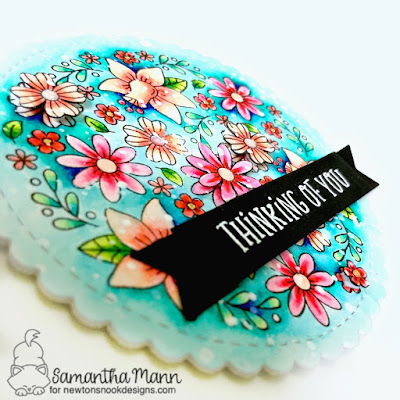Thinking of You Floral Card by Samantha Mann for Newton's Nook Designs, Scallop, Shaped Card, Cards, Newton's Nook Designs, Zig Clean Color Real Brush Markers, Heat Embossing #newtonsnook #flowers #scallop #cards #spring