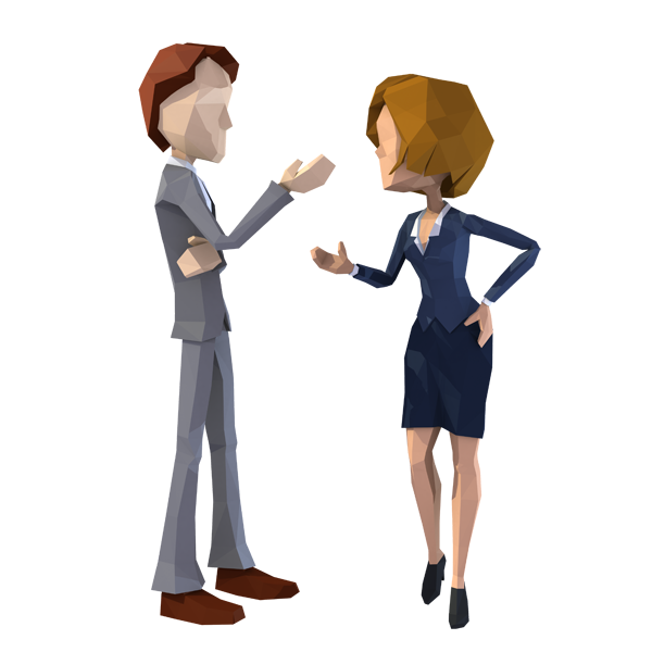 Lowpoly Style 3D characters talking about business