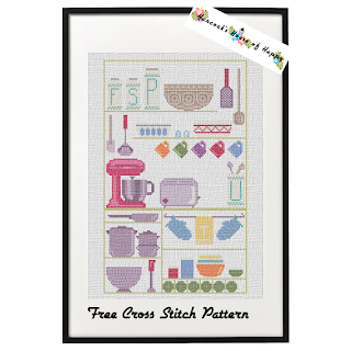 free kitchen cross stitch sampler
