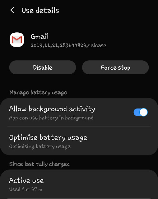 Disbale Gmail app from battery optimization
