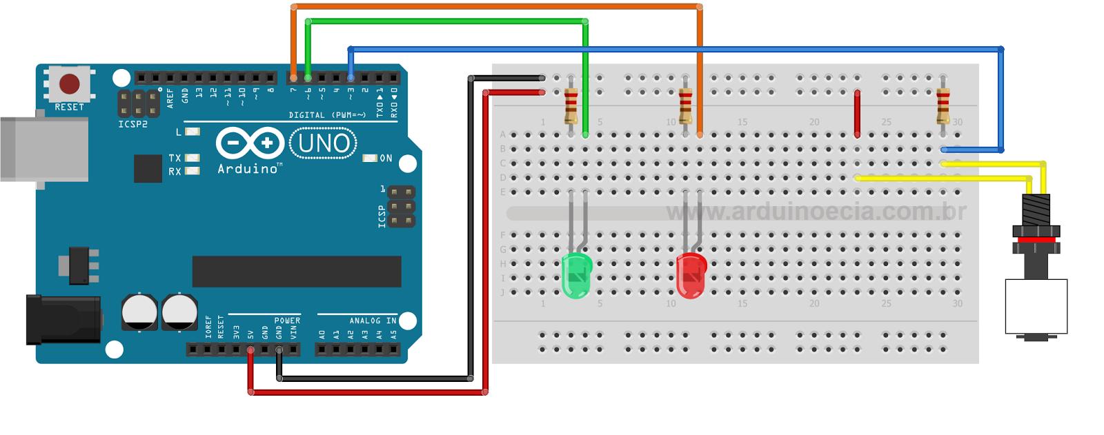 Circuito Arduino e sensor de nivel de liquido