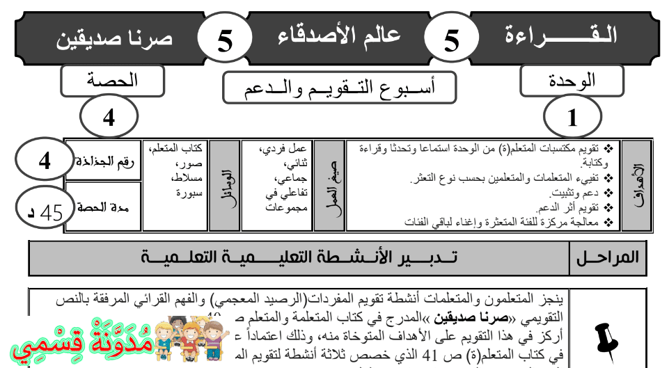 جذاذات التقويم و الدعم للمستوى الثالث