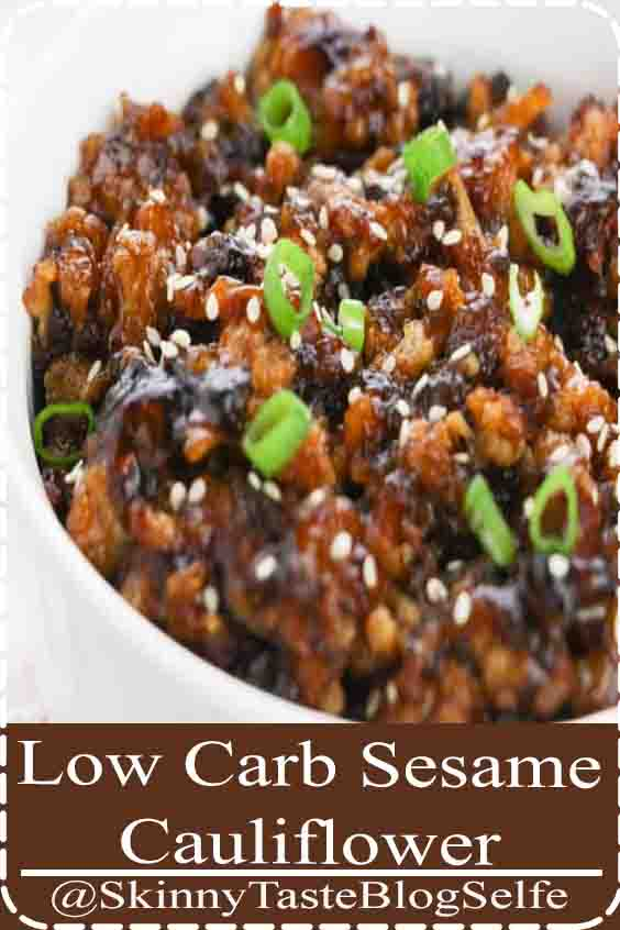 4.9 | ★★★★★ Low Carb Keto Friendly Sesame Cauliflower - A delicious takeout alternative that everyone will love! #cauliflowerrecipes #meatlessmonday #vegetarianrecipes #vegetarian #meatless #cauliflower #sesamecauliflower #ketofriendly #keto #lowcarbdiet #lowcardinner #lowcarb