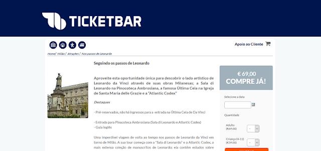 Ticketbar para ingressos para atrativos com obras de Leonardo da Vinci em Milão
