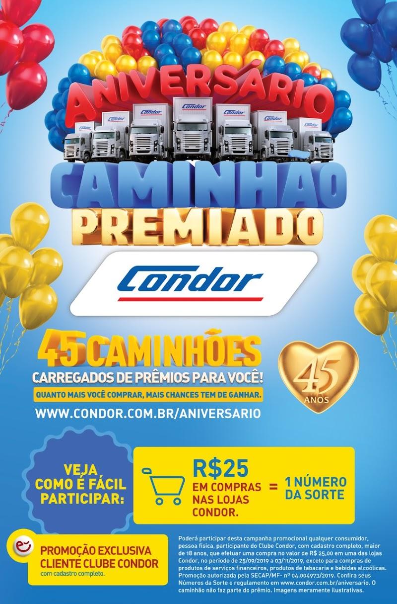 Condor sorteia 45 caminhões de prêmios ao celebrar 45 anos de história