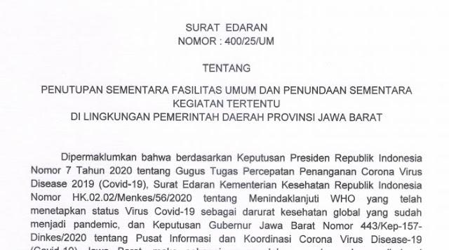Penutupan Sementara Fasiltas Umum Di Jawa Barat