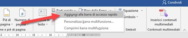 aggiungere comando a barra di accesso rapido