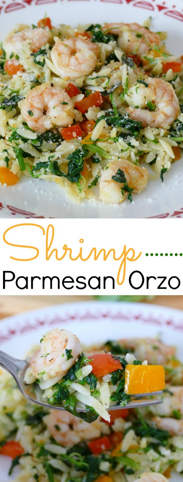 This simple and tasty lunch or dinner idea is packed full of delicious vegetables, fresh basil, garlic and lemon pepper along with the shrimp, orzo, parmesan cheese, bell pepper and spinach! It's ready in less than 30 minutes and you can omit the shrimp to make it completely meatless!