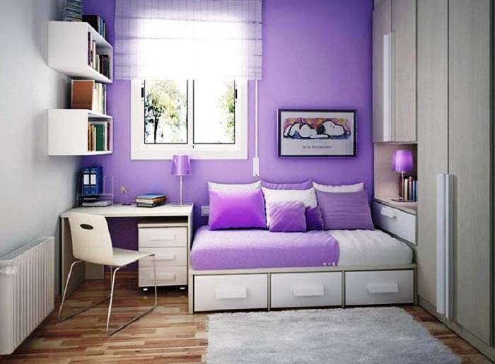 Desain Kamar Tidur Minimalis Warna Ungu
