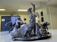 """Fábio Purper Machado, """"Libera nos a malo"""", exposição """"Micronarrativas de Papel"""", esculturas-HQ e HQs-escultura, 2012."""