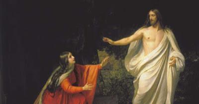 L'apparizione di Gesù Cristo a Maria Maddalena. Maria Maddalena vede solo Gesù risorto