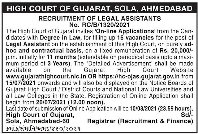 Gujarat HC Recruitment For 16 Legal Assistant 2021