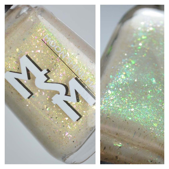 ivory crelly nail polish with shimmer in a bottle
