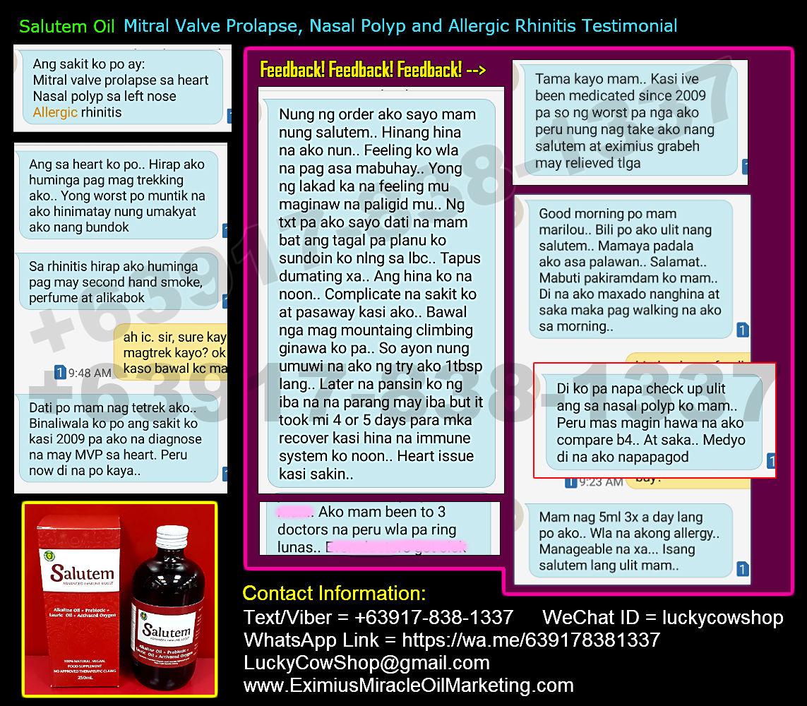 Salutem Oil Mitral Valve Prolapse Allergic Rhinitis