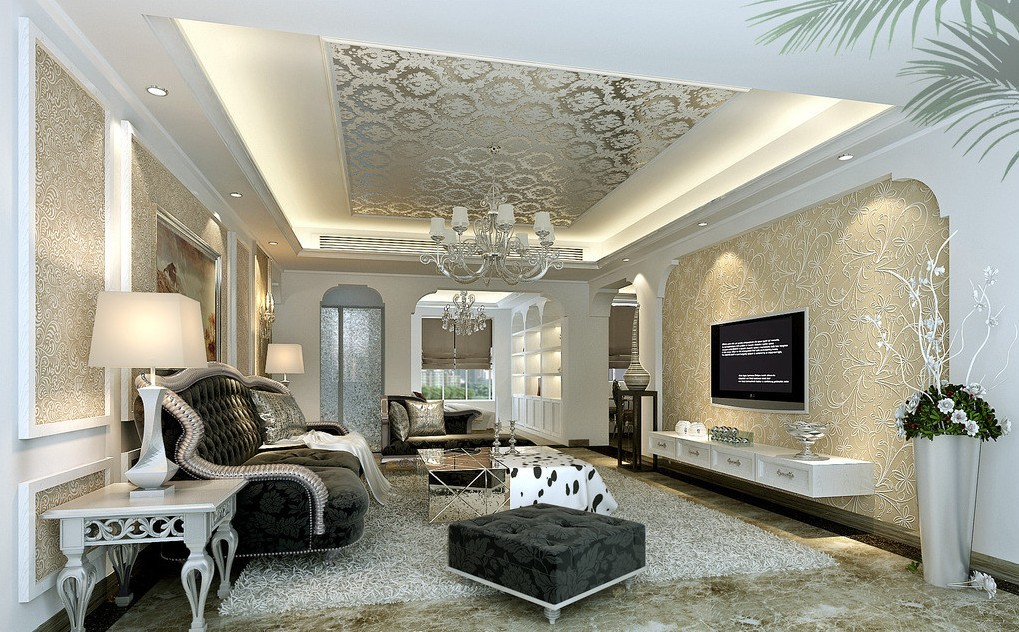 The best living room wallpaper designs for Silver wallpaper living room