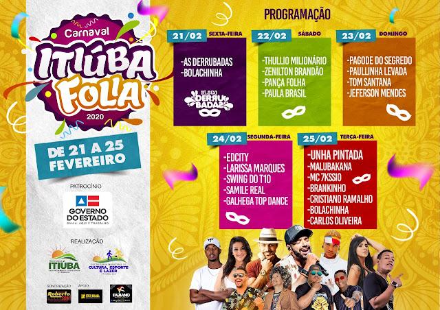 Prefeitura de Itiúba divulga programação completa do Carnaval 2020