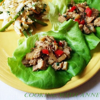 Chicken Lettuce Wraps and Sesame Slaw