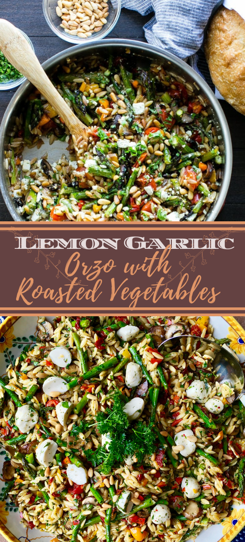 Lemon Garlic Orzo with Roasted Vegetables #vegan #vegetarian #soup #breakfast #lunch