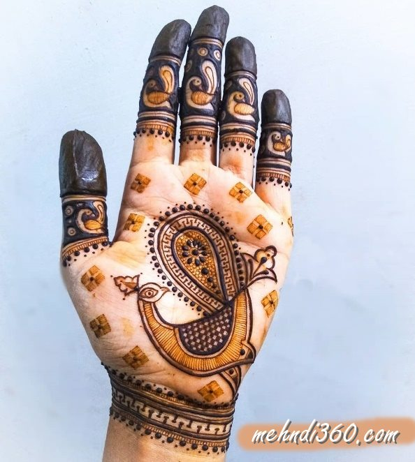 Dancing Peacock Mehndi Design