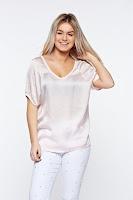 Tricou rosa casual asimetric cu croi larg din material satinat •