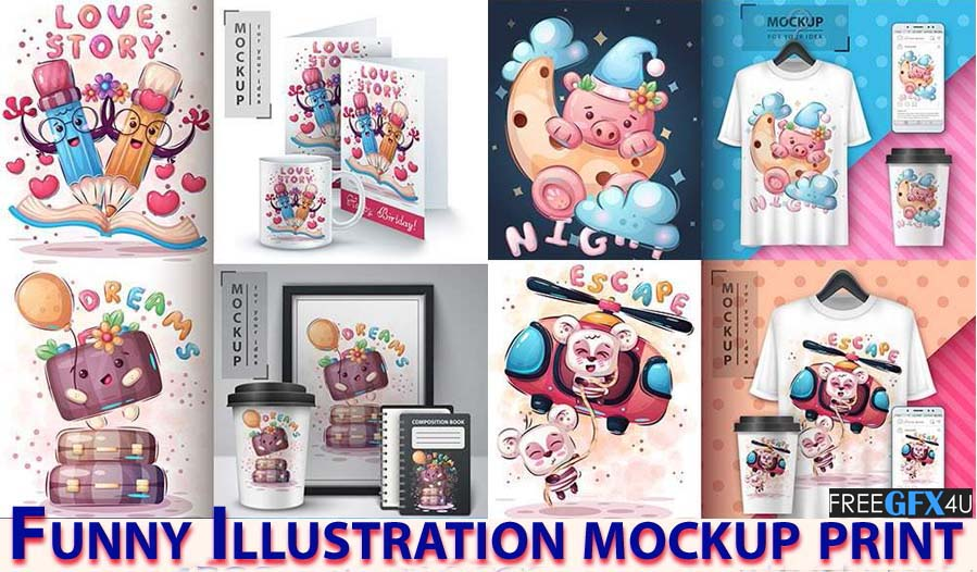 Funny Illustration mockup print 14 cartoon designs