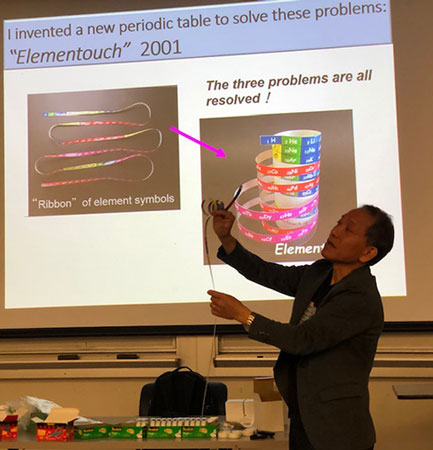 Yoshiteru Meano explains the benefits of resolving the three problems in the periodic table (Source: Palmia Observatory)
