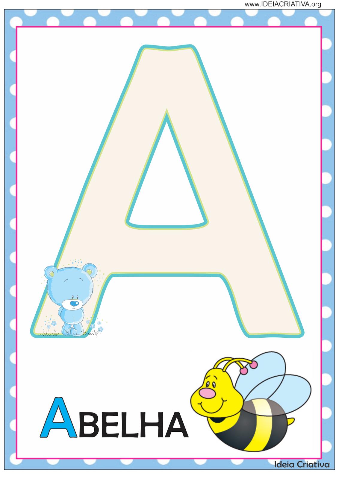 Alfabeto De Parede Ursinho E Ursinha Para Imprimir Gratis