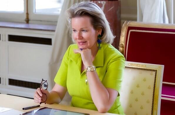 Queen Mathilde wore a new vivid-green Marion silk dress from Natan SS20 collection. Queen Mathilde is particularly focused on mental health