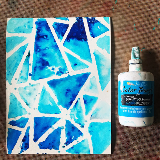 Brutus Monroe Color Burst Powders through STAMPlorations stained glass stencil