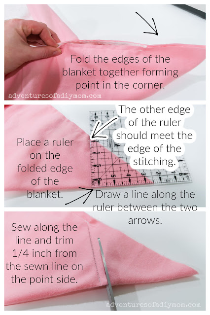 collage of images and text showing how to make mitered corners on a baby blanket