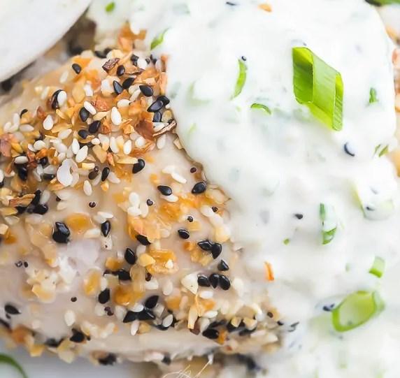 Everything Bagel Chicken with Scallion Cream Cheese Sauce (Keto) #healthy #ketodiet