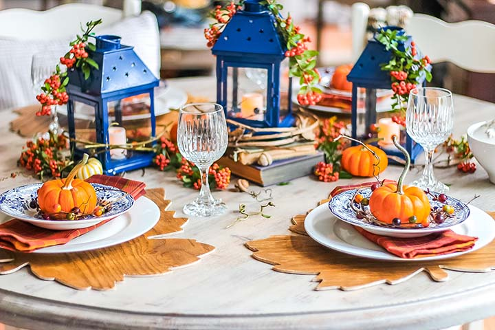 Fall - Thanksgiving table with blue and orange colors