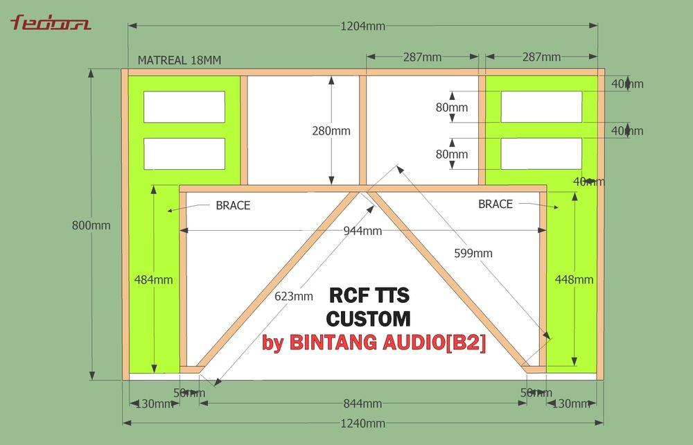 Skema dan ukuran lengkap box subwoofer RCF TTS36