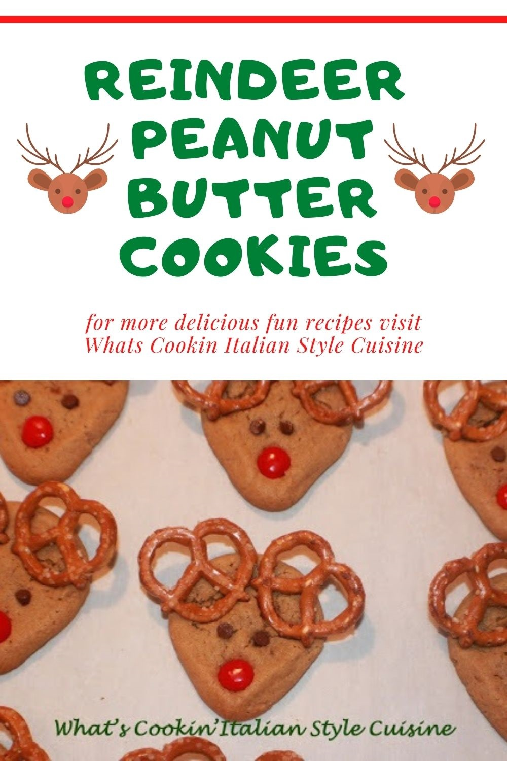 holiday pin for later peanut butter reindeer cookies