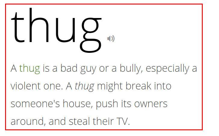 Arti Thug Menurut Vocabulary.com