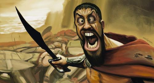 Caricatura do rei Leônidas de Esparta, furioso empunhando sua espada por Mário Alberto