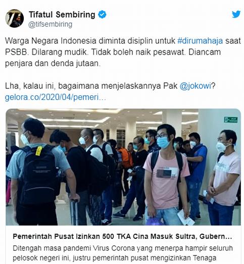 Rakyat Dilarang Mudik, 500 TKA China Malah Bebas Masuk Indonesia, Pak Jokowi, Tolong Jelaskan?!