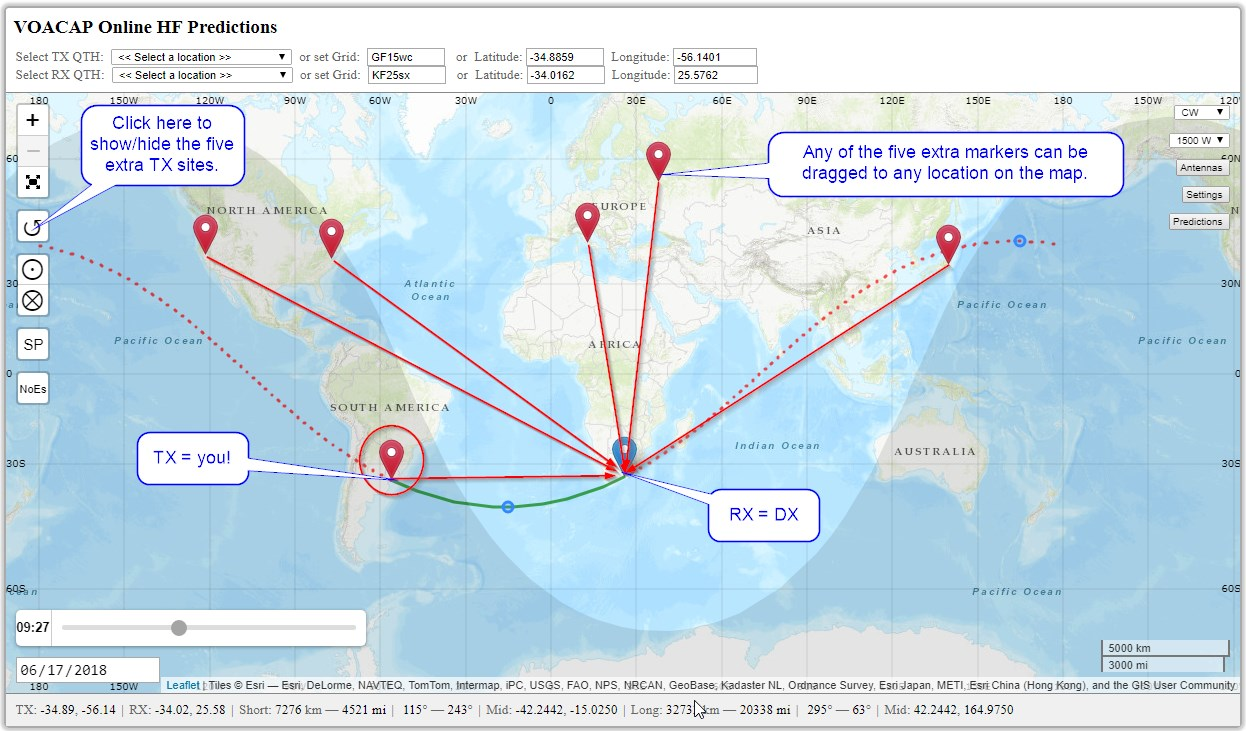 to fully leverage the new functionality you should set the location of the transmitter site tx to your qth and the location of the receiver site rx to