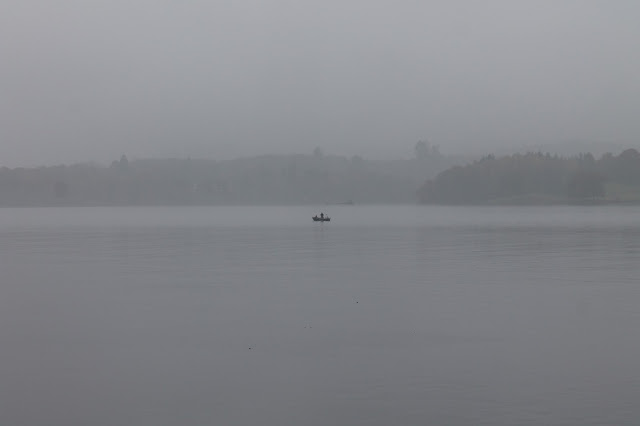 Ambleside to Bowness river cruise in the Lake District on a foggy, misty day
