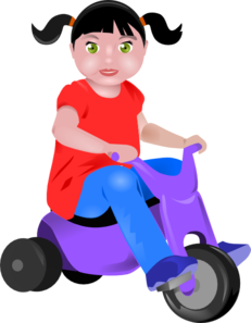 Toddler clipart on tricycle