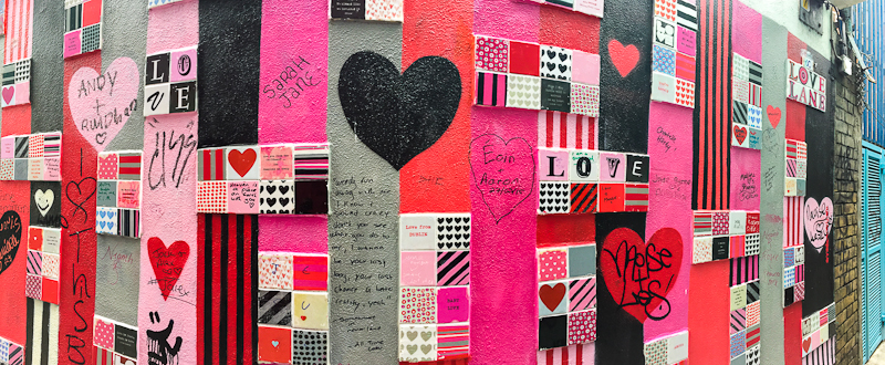 The wall art of love in temple bar Dublin Ireland