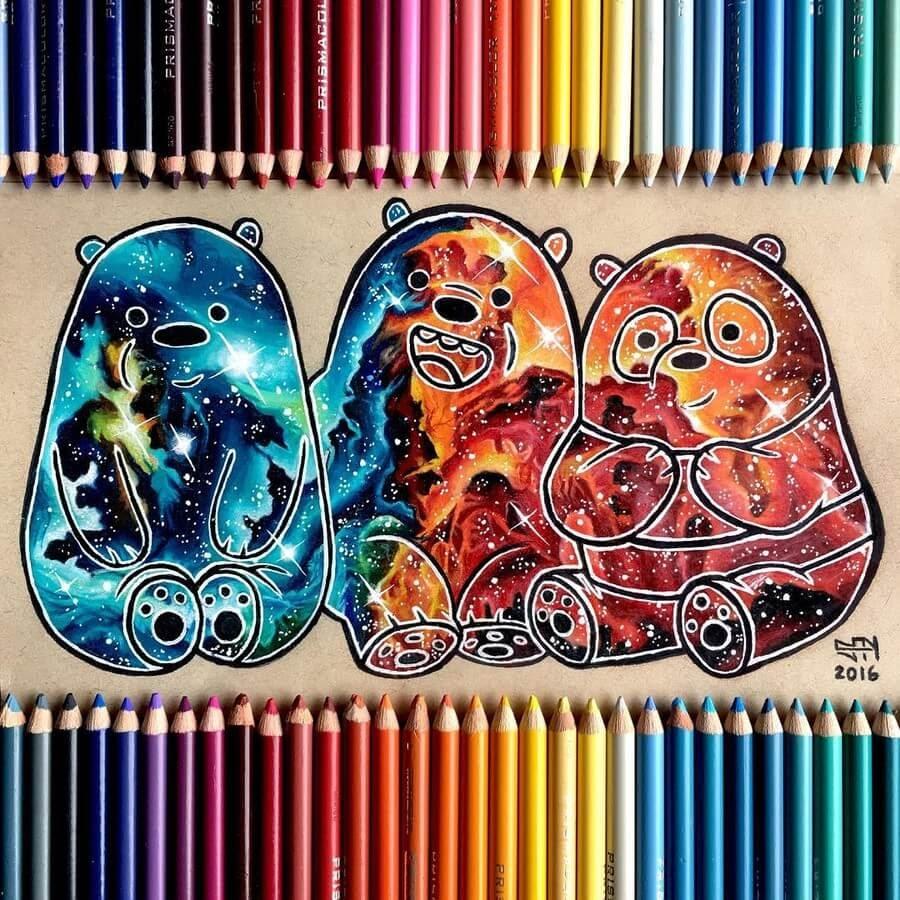 10-Three-Galactic-Bears-Sydney-Nielsen-Pencil-Drawings-www-designstack-co
