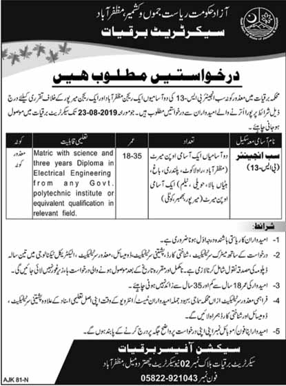 Sub-Engineer Jobs in Power Development Organization AJK 10 Aug 2019