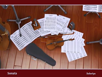 Sonata Соната для The Sims 4 Музыкальный декоративный набор. Включает 14 предметов, 1-3 цветовых вариации. Предметы в наборе: - два метронома - четыре музыкальных стенда - два вида музыкальных листов - виолончель - футляр для виолончели - скрипка - футляр для скрипки - музыкальный смычок - стол. Автор: soloriya