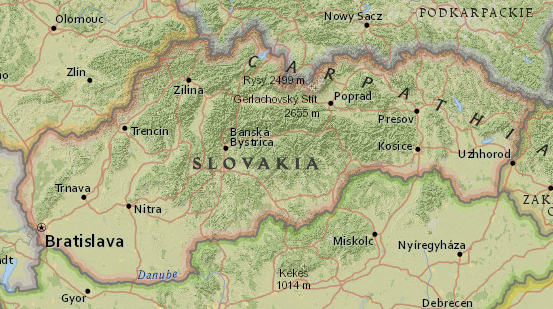 Map of Slovakia in Central Europe — from National Geographic MapMaker Interactive
